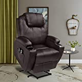 U-MAX Recliner Power Lift Chair Wall Hugger PU Leather with Remote Control (Brown)