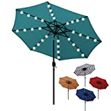 Blissun 9 ft Solar Umbrella 32 LED Lighted Patio Umbrella Table Market Umbrella with Tilt and Crank Outdoor Umbrella for Garden, Deck, Backyard, Pool and Beach (Cerulean)