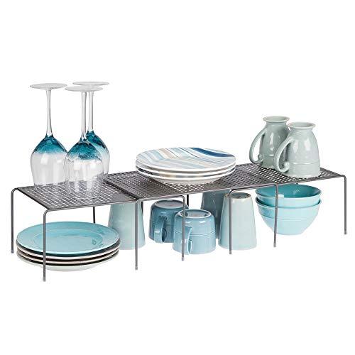 mDesign Set da 3 Porta piatti e porta stoviglie allungabile Scaffale cucina salvaspazio Ideale per...