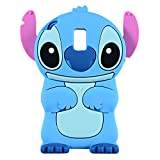 Blue Stitch Case for Samsung Galaxy J3 2018/J3 Achieve/J3 Star/Express/Amp Prime 3/J3 V 3rd Gen/Sol 3,3D Cartoon Animal Cute Soft Silicone Rubber Cover,Animated Cool Cases for Kids Teens Girls(J3 2018