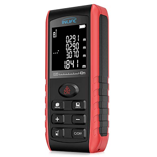 Laser Distance Measure 131FT / 40M Backlit LCD Handheld Digital Laser Distance Meter with Single-distance, Continuous, Area, VNT Angle, Volume Measurement and Pythagorean Modes