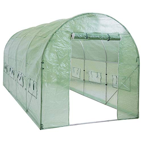 Best Choice Products 15x7x7ft Walk-in Greenhouse Tunnel Tent Gardening Accessory w/Roll-Up Windows, Zippered Door