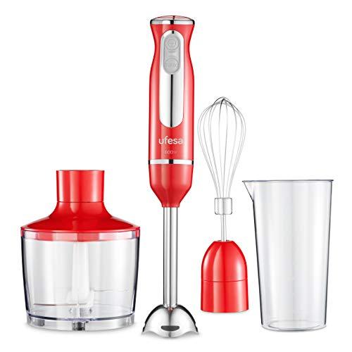 Ufesa BP3443 Stabmixer, Pürierstab, 600 W, inkl. Zubehör, hoch effiziente Klingen, Turbofunktion, BPA-frei, Rot