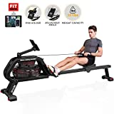 SNODE Water Rowing Machine 331Lbs Weight Capacity Indoor Rower with Water Resistance LCD Monitor & Free APP...