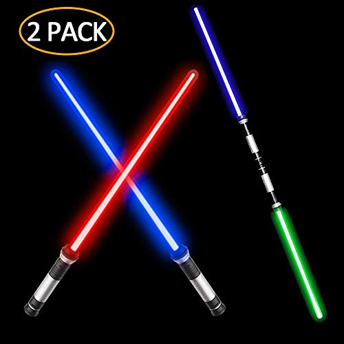 VLSEEK Laser Sword Upgrade Light Up 2-in-1 7 Color Changing LED Light Up FX Dual Saber Sound (Motion Sensitive) for Galaxy War Fighters and Warriors, Stocking Ideal Kid Gift, Xmas Presents (2 Pack)