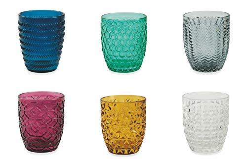 Villa dEste Home Tivoli Geometrie Set 6 Bicchieri Acqua, Multicolore, 6 unit