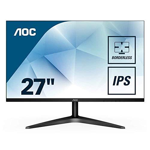 AOC 27B1H Monitor LED da 27', Pannello IPS, FHD, 1920 x 1080, 60 Hz, No VESA, VGA, HDMI, Senza Bordi, Nero