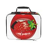 Labios rojos femeninos con una jugosa bolsa de playa de fresa con enfriador aislado Bolsas de almuerzo aisladas a prueba de fugas 9.51 × 3.15 × 7.48 pulgadas Compras de comestibles Bolsa de playa ais