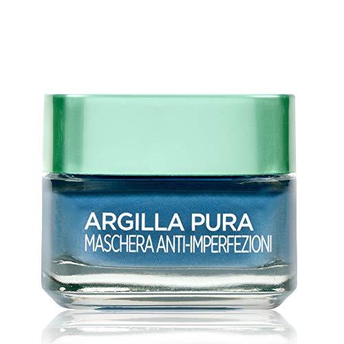 L'Oréal Paris Detergenza Maschera per il Viso Argilla Pura Anti-Imperfezioni con Alghe Marine, Agisce sui Punti Neri e Ristringe Pori, 50 ml