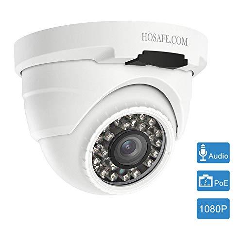 HOSAFE POE Camera Outdoor 1080P con audio, telecamera di sorveglianza di sicurezza domestica, visione notturna a 50 piedi, allarme rilevamento movimento, compatibile con ONVIF NVR o software