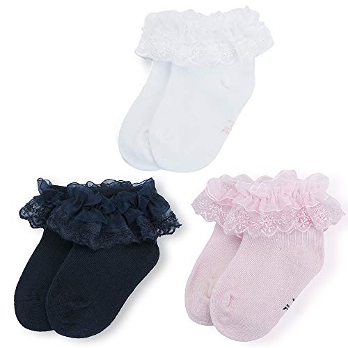 LACOFIA Calzini neonata da battesimo in cotone bianco in pizzo da bambina 3 Paia 6-12 mesi