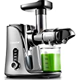 Juicer Machines,AMZCHEF Slow Masticating Juicer Extractor, Cold Press Juicer with Two Speed Modes, 2 Travel bottles(500ML),LED display, Easy to Clean Brush & Quiet Motor for Vegetables&Fruits,Gray