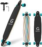 Gonex 42' Longboard Skateboard Complète, 9 Couches en Bois pour Enfants Adultes Débutants, Rayures Bleues