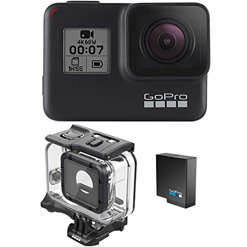 GoPro HERO7 Black + Extra Battery + Super Suit Dive Housing Case - E-Commerce Packaging - Waterproof Digital Action Camera with Touch Screen 4K HD Video 12MP Photos Live Streaming Stabilization