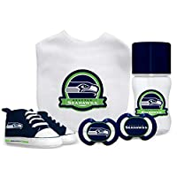 Get your little one started on the road to fandom with this USA MADE officially licensed gift set from Baby Fanatic It includes a bib, bottle, high-top shoes and 2 pacifiers Each item is 100% BPA free - and is boldly decorated with colorful team grap...