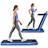 Goplus 2 in 1 Folding Treadmill, 2.25HP Under Desk Electric Treadmill, Installation-Free with Bluetooth Speaker, Remote Control, APP Control and LED Display, Walking Jogging for Home Office Use