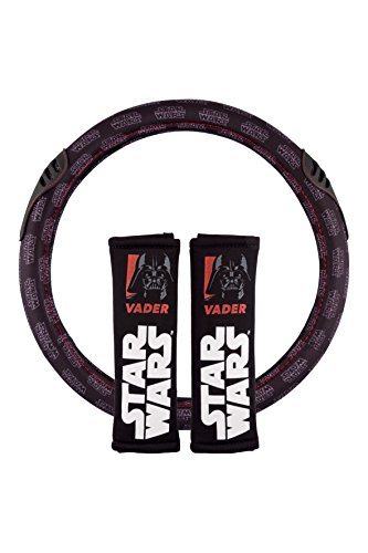 Star Wars STW102 Conjunto de 2 Almohadillas + 1 Funda de Volante para Coche Vader, NEGRO, UNIVERSAL