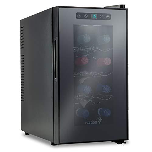 Refrigeratore termoelettrico per vino di Ivation, capacit: 8 bottiglie di rosso/bianco, display digitale con temperatura indicata, vetro temperato e affumicato, silenzioso