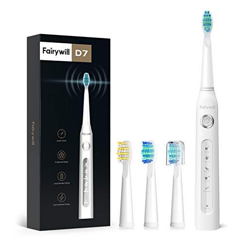 Fairywill Elektrische Zahnbürste Putzen Sie Ihre Zähne wie beim Zahnarzt Schallzahnbürste Eine Aufladung von 4 Stunden hält Min 30 Tage 5 Reinigungs-Modi 2 Minuten Timer 4 Aufsteckbürsten Weiß