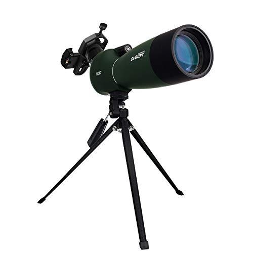 Svbony SV28 Telescopio Terrestre 25-75x70 Impermeable Prisma BAK4 Lente óptica Recubierta MC Zoom Spotting Scope con Trípode y Adaptador de Smartphone