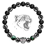 Karseer Black Panther Anxiety Bracelet, 8MM Natural Stone Healing Crystal and Magnetic Energy Balance Beaded Elastic Bracelet, Handmade Prayer Meditation Stress Relief Gemstone Bracelet (White Gold)