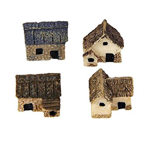 Mengonee 4pcs Kit Miniatura Hada del jardín de Piedra Casas