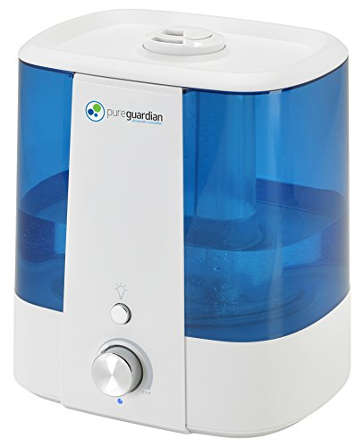 Pure Guardian H1175WCA Ultrasonic Cool Mist Humidifier, 90 Hrs. Run Time, 1.5 Gal. Tank Capacity, 390 Sq. Ft. Coverage, Medium Rooms, Quiet, Filter Free, Silver Clean Treated Tank, Essential Oil Tray