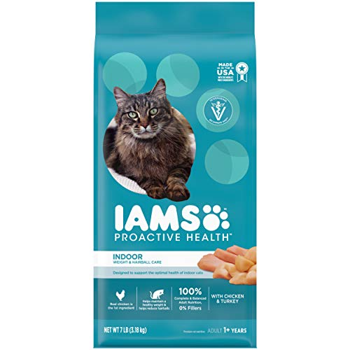 IAMS PROACTIVE HEALTH Adult Indoor Weight Control & Hairball Control Dry Cat Food with Chicken, Turkey, and Garden Greens