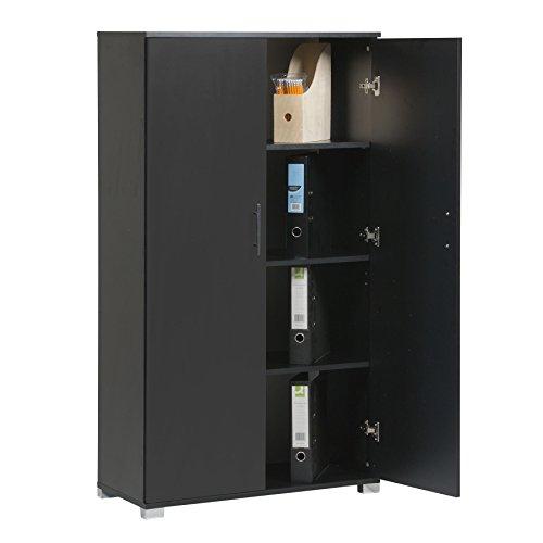 Armadio da ufficio, di colore nero, per riporre accessori di cancelleria, con 4 ripiani, 2 ante, 800...