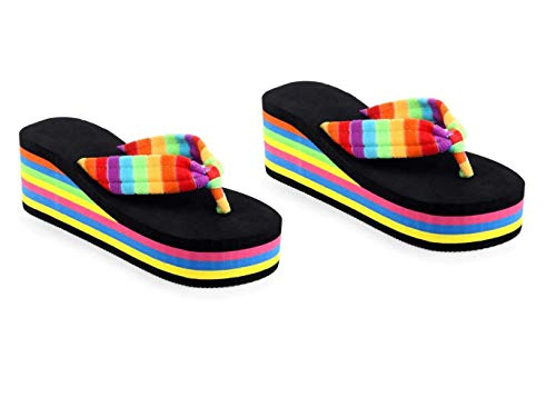 WMK StylishComfortable foam spongy slippers for women and girls Block wedge Heel (Black) - Eu Size 37 | UK Size 4