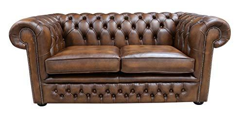 Designer Sofas4u Chesterfield - Divano Winchester a 2 posti, Realizzato a Mano, in Vera Pelle,...
