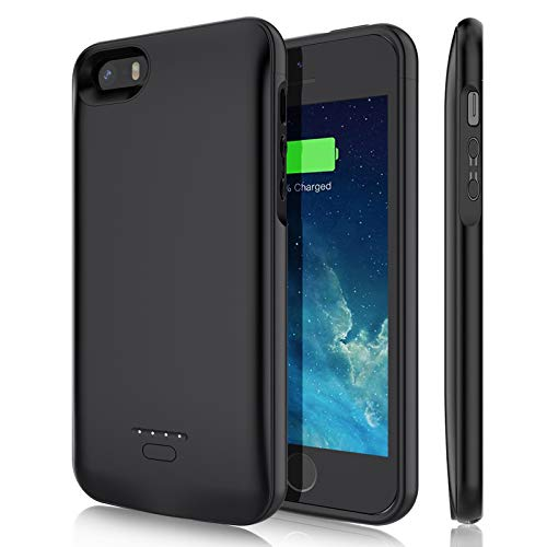 Battery Case for iPhone 5/5S/SE(4.0 inch), YISHDA 4000mAh Rechargeable Extended Battery Charging Case Magnetic Charger Case Protective Backup Power Cover for iPhone 5/5S/SE-Black (Not Fit 5C/SE 2020)