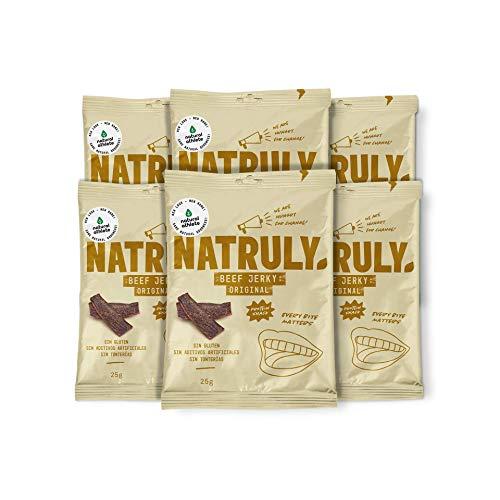 Beef Jerky Original - Natural Athlete - Carne seca 100% Carne de vacuno - 100% natural - Sin gluten - Sin lactosa - Sin azúcar refinado añadido - Sin aditivos artificiales. Pack 6x25gr
