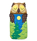 Magic Cabin Kids' Woodland Sleeping Bag with Built-in Pillow and Carrying Strap, 57''L x 28''W - Owl