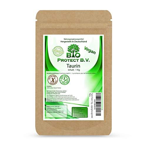 Taurin Pulver 1 Kg 100% rein ohne Zusatzstoffe! 1000g reines Taurin ohne Magnesiumstearat - Bio Protect BV Premium Nahrungsergänzungsmittel
