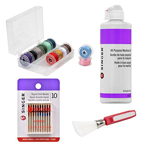 Singer Machine Accessories Bundle - All Purpose Machine Oil, 12-Pack Class 15 Threaded Bobbins in Assorted Colors, 10 Regular Point Needles, Angled-Edge Lint Brush with Comfort Grip