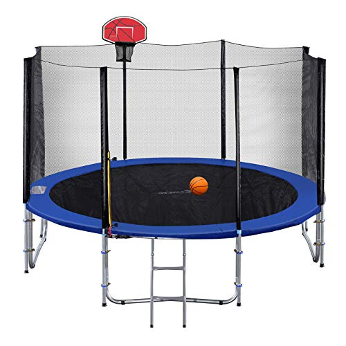 Exacme 8 Foot Small Trampoline with Basketball Hoop and Enclosure Net for Kids, Orange T8+BH04OR