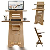 Modern Height Adjustable Sit to Stand Up Desk. Large Wood Desk Spaces That Easily Adjust for Ergonomic Standing or Sitting. Perfect as Home Office Work Desks and Multi-Task Computer Table Workstation.