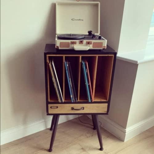 Industrial Hifi Rack Vintage Retro Vinyl Record Storage Side Cabinet Bedside Table Unit Rustic Metal Wooden Entertainment Media Stereo Box