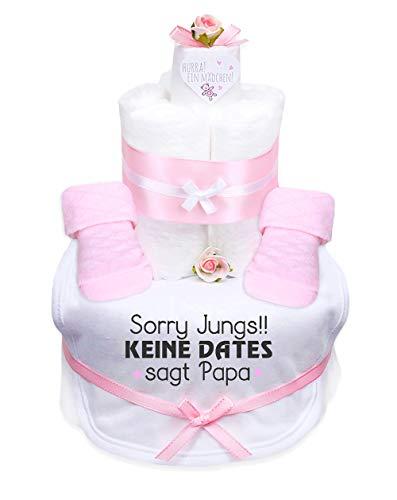 Trend Mama Windeltorte Mädchen Baby,Babysocken + Lätzchen mit Print -Sorry Jungs!! Keine Dates sagt Papa