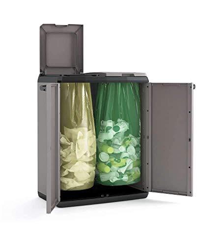 Keter Armadio per la Raccolta Differenziata Split Recycling Basic da Interno ed Esterno, Grigio, Montato Misura 68 x 39 x 85 cm