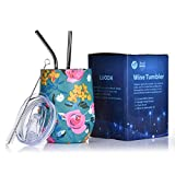 LUODA 12 Oz Stainless Steel Stemless Wine Glass Tumbler with Lid and Straw Vacuum Insulated Double Wall Travel Tumbler Cup for Coffee, Wine, Cocktails, Champagne Ice Cream (Pretty Flower)