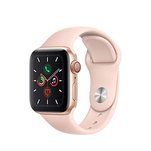 Apple Watch Series 5 (GPS + Cellular, 40 mm) Boîtier en Acier Inoxydable - Bracelet Sport Blanc