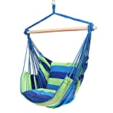 Blissun Hanging Hammock Chair, Hanging Swing Chair with Two Cushions, 34 Inch Wide Seat Blue & Green Stripes (Blue & Green Stripes)