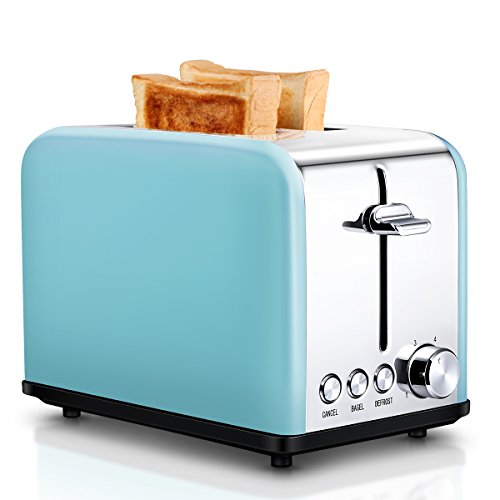 Toaster 2 Slice, Retro Small Toaster with Bagel, Cancel, Defrost Function, Extra Wide Slot Compact Stainless Steel Toasters for Bread Waffles, Blue
