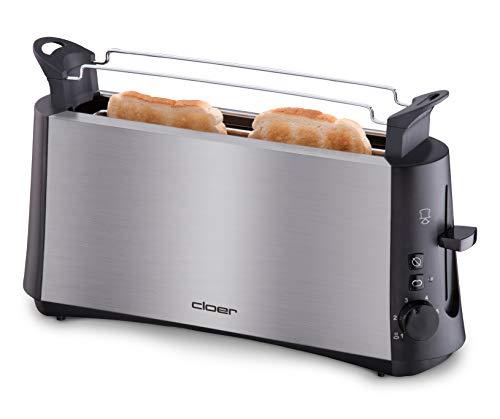 Cloer 3810 Langschlitztoaster, 880 W für 2 Toastscheiben mit 'Graubrot-Funktion' zum Toasten von verschiedenen Brotsorten, Brötchenaufsatz, Edelstahlgehäuse