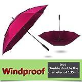BDWS Paraguas Paraguas de Golf para Hombres y Mujeres, Grande, a Prueba de Viento, semiautomático, Largo, empresarial, 1111 Federación de Rusia 7028red