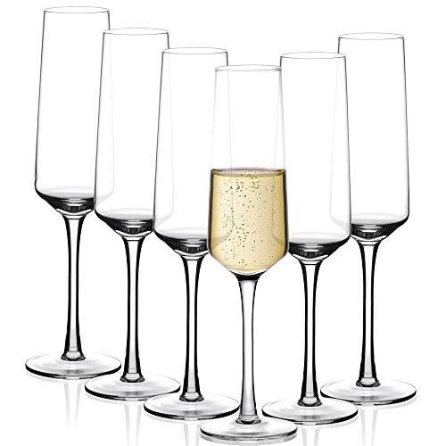 Amisglass Bicchieri da Champagne, Calici da Champagne Set 6 Pezzi Bicchieri Flute da Champagne e Prosecco in Vetro Cristallo Premium, 100% Senza Piombo, Soffiato a Mano - 280 ml