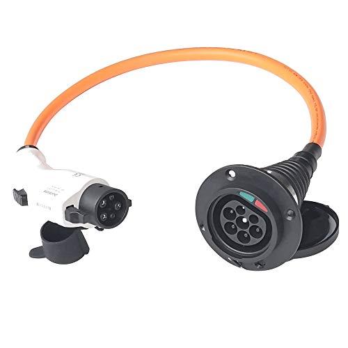 K.H.O.N.S. Tipo 1 a Tipo 2 EV Adaptador 32A EV Cable de Carga para Tipo 1 Vehículos Eléctricos; EV Cable de Coche Tipo 1 al Tipo 2 EV Convertidor 32amps 0.5M (Cable Naranja)