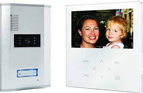 Smartwares SW VD71W Video-Türgegensprechanlage mit flachem Touchscreen-Panel, Farbbildmonitor, weiß